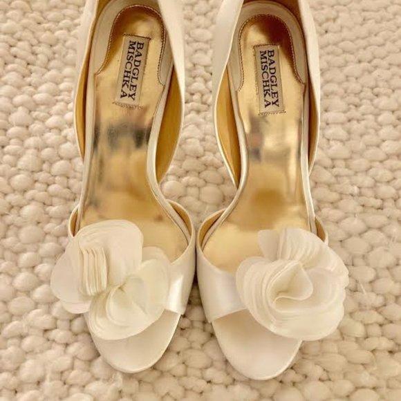 Badgley Mischka Shoes | White Satin